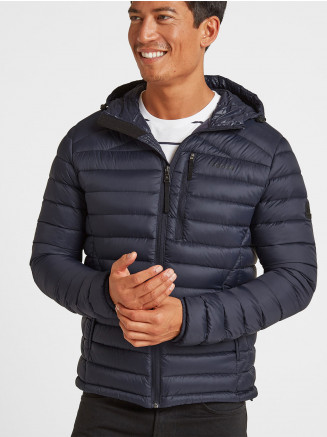 Mens Drax Hooded Down Jacket Blue