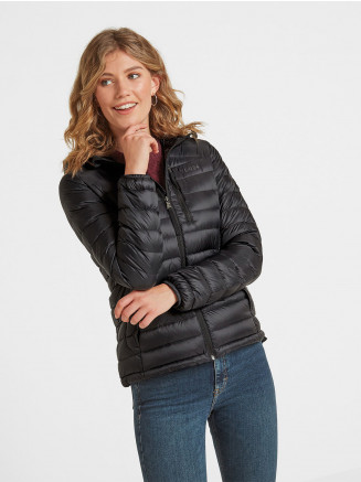 Womens Drax Hooded Down Jacket Black