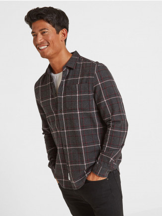 Mens Fletcher Long Sleeve Flannel Check Shirt Red