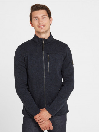 Mens Garton Knitlook Fleece Jacket Blue