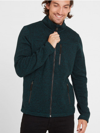 Mens Garton Knitlook Fleece Jacket Green