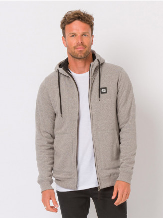 Mens Heath Zip Through Hoodie Grey