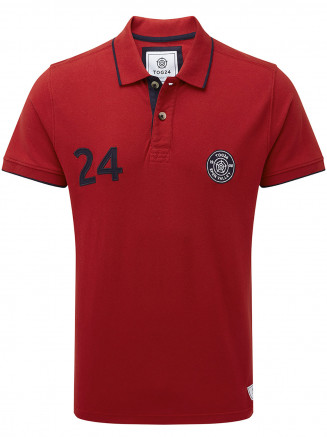 Mens Hebble Pique Polo Shirt Red