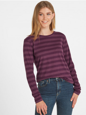 Womens Holmfield Long Sleeve Stripe T-shirt Purple