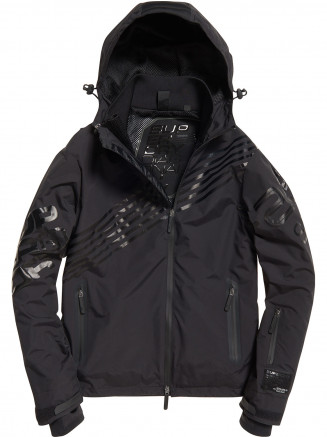 Mens Diagonal Snow Cagoule Black