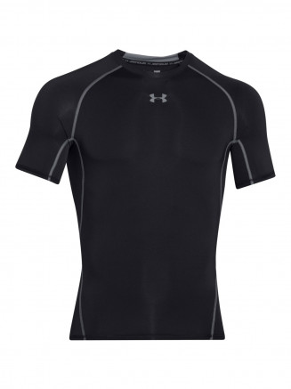 Mens Heatgear Armour Compression Shortsleeve T Shirt Black