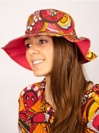 Womens Rainbow Paisley Wide Brim Hat Pink