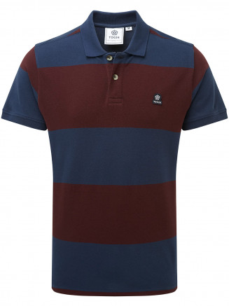 Mens Seacroft Mn Pique Stripe Polo Blue