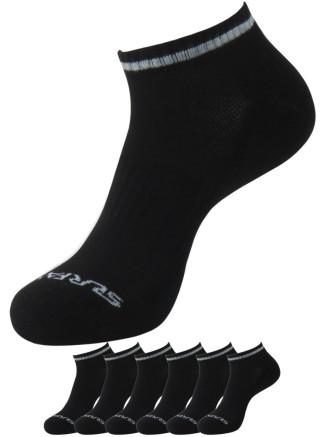 Mens Aerotech Trainer Liner 6pk Sock Black