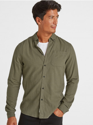 Mens Theo Long Sleeve Small Flannel Check Shirt Green