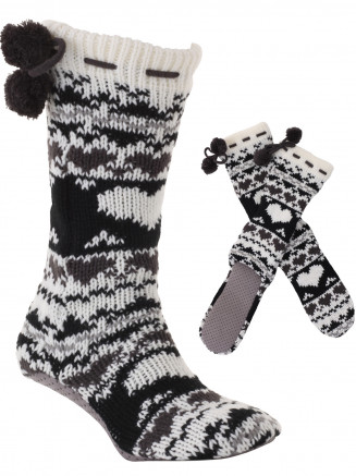 Womens Heart Slipper Sock Black