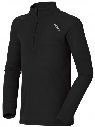 Kids Base Layer Warm Long Sleeve Turtle Neck 1/2 Zip Black