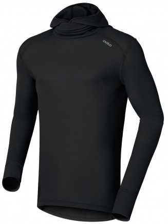 Mens Base Layer Warm Long Sleeve Crew Neck Facemask Black